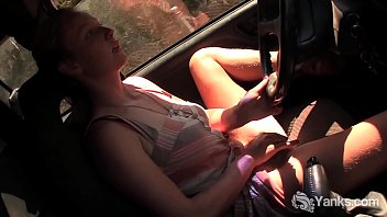 in driving car Perfect blonde teen marry queen